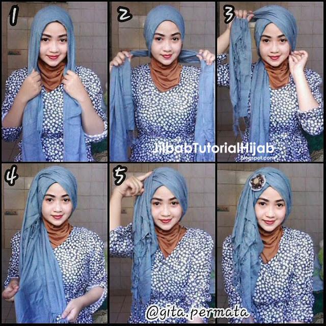 Tutorial Hijab Pashmina untuk Pesta Style Turban Terbaru