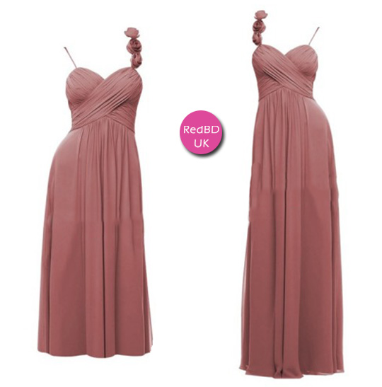 Chiffon Spaghetti Strap with Floral Detail Ruched Bodice Bridemsaid Dress