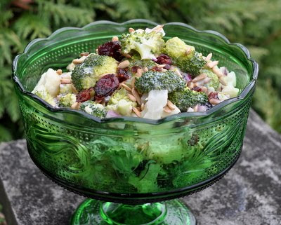Healthy Holiday Salad with Broccoli, Cauliflower & Dried Cranberries