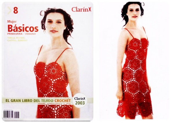 Vestido rojo de hilo de macrame y Revista