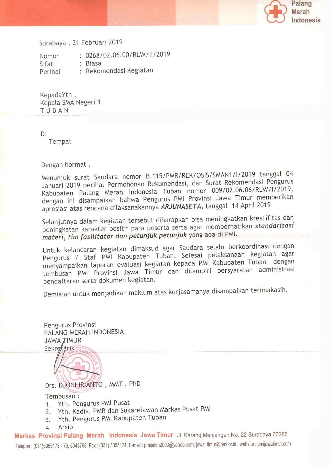Pmr Sma Negeri 1 Tuban Surat Rekomendasi Kegiatan Dari Pmi