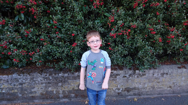 My Sunday Photo.  Dylan in front of a berry bush