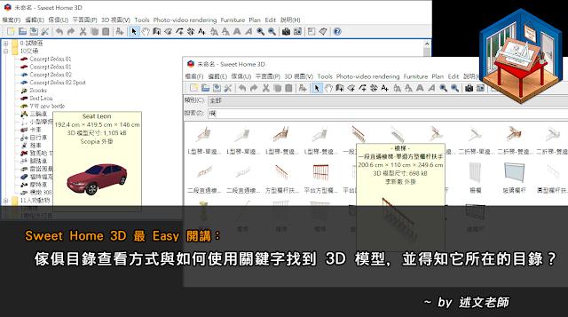 Sweet Home 3D 最 Easy 開講:傢俱目錄查看方式與如何使用關鍵字找到 3D 模型,並得知它所在的目錄?