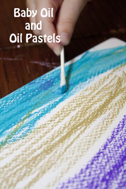 Experiment with Oil Pastels by Adding Baby Oil