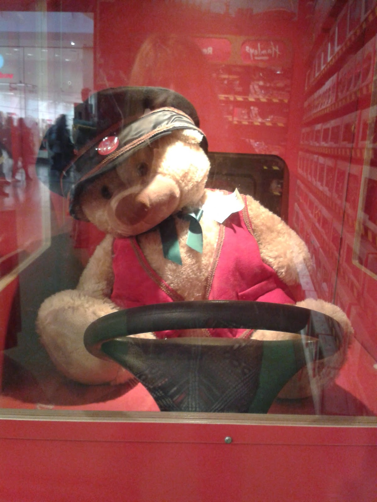 A bus driving teddy bear in Hamleys Toystore, Cardiff