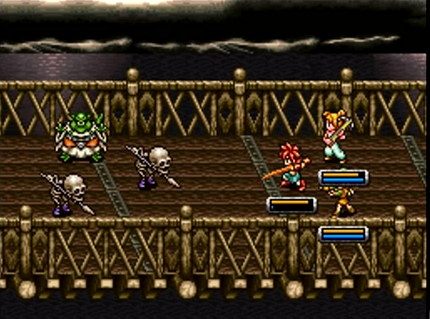 Crono, Marle, and Lucca take on Ozzie and his skeletal troops on Zenan Bridge in 600 AD