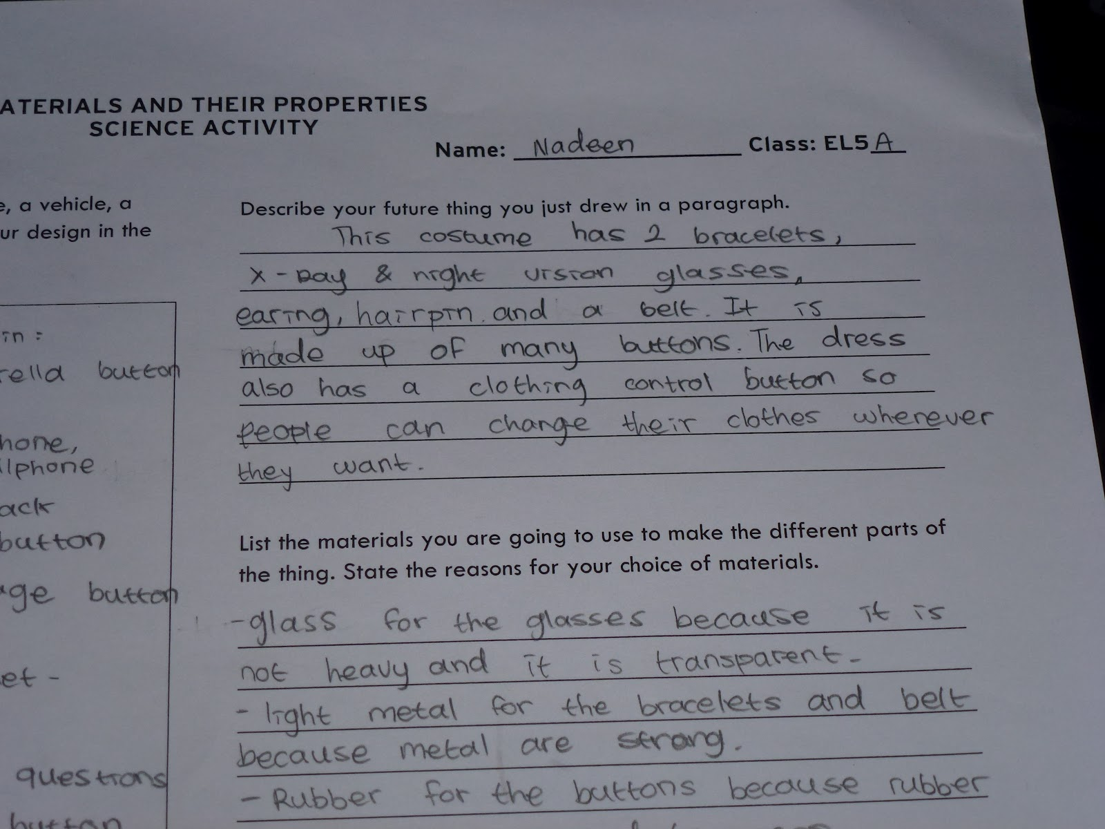 Nadeen S Science Area Materials And Their Properties Science Worksheet