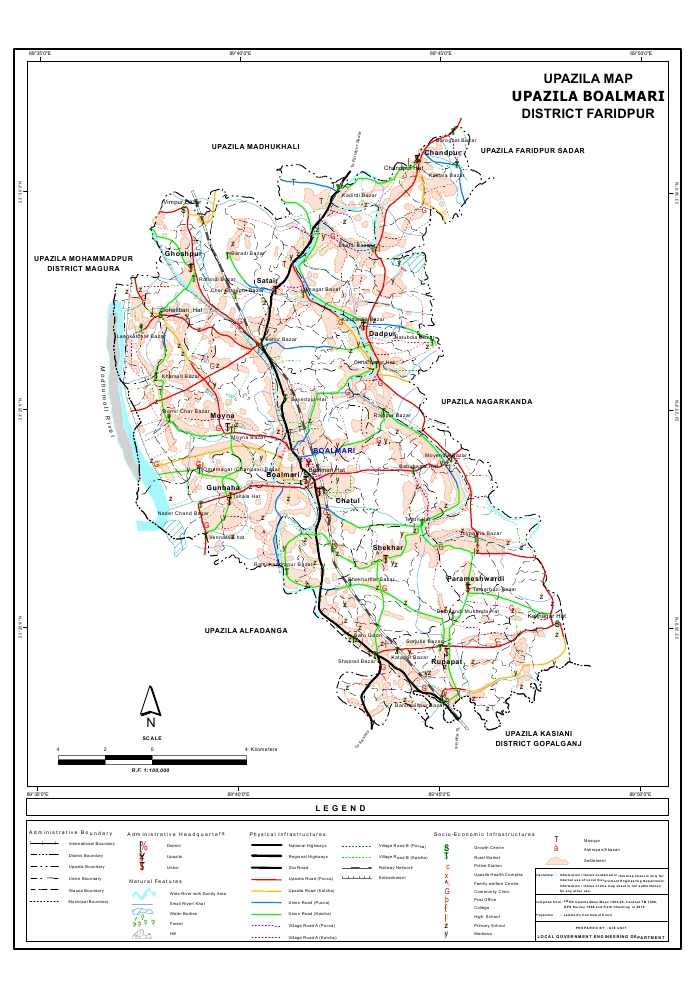 Boalmari Upazila Map Faridpur District Bangladesh