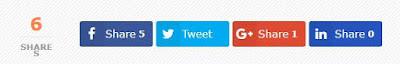 FB, Twitter, G+ dan LinkedIn: Memasang Tombol Social Share Berikut Counter (Penghitung) Pada Blogspot