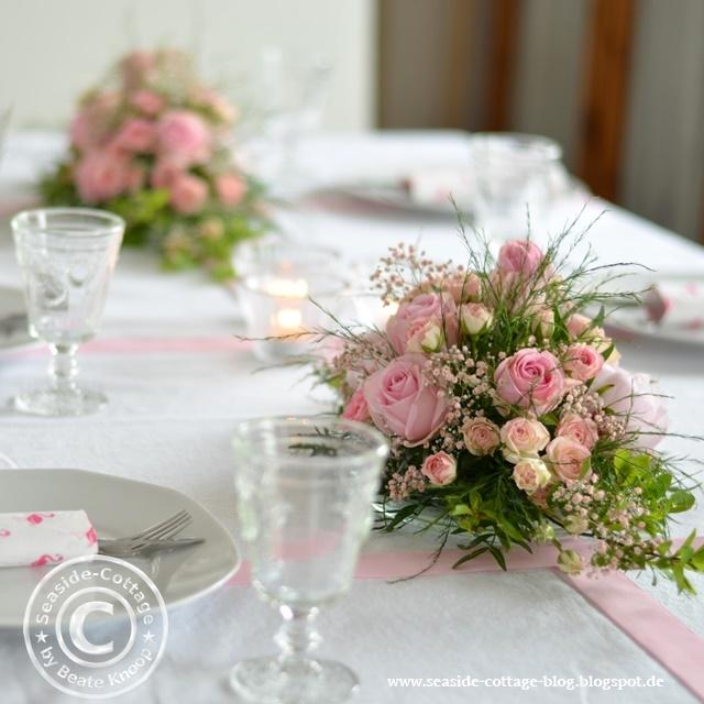 Rosa RosenTraum Tischgestecke zur Konfirmation eines