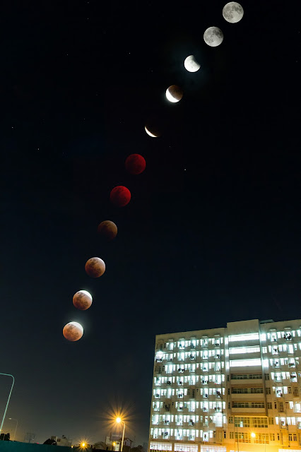 Diễn biến của Nguyệt thực toàn phần từ khi bắt đầu pha toàn phần, đến cực đại và kết thúc nguyệt thực lúc Mặt Trăng trở lại màu sắc bình thường. Hình ảnh: Huy Trần tại Bình Dương.