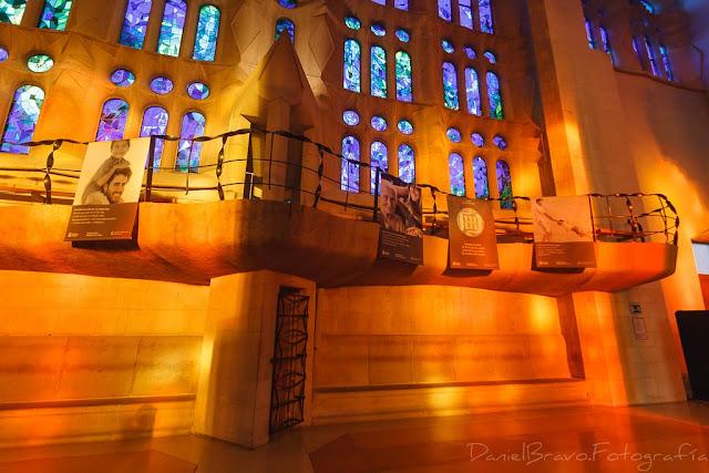 Interior de la Sagrada Familia iluminado con luz del atardecer