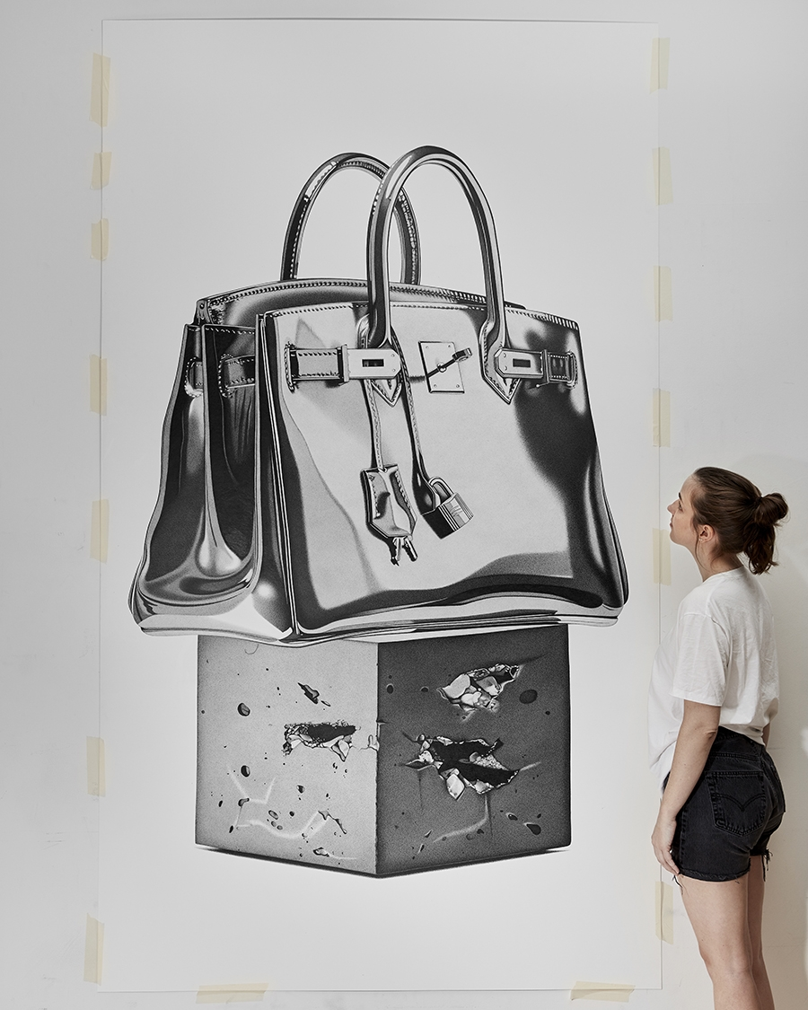 01-Hermes-Birkin-Bag-CJ-Hendry-Bronzed-Trophy-Series-Drawings-that-look-like-Photographs-www-designstack-co