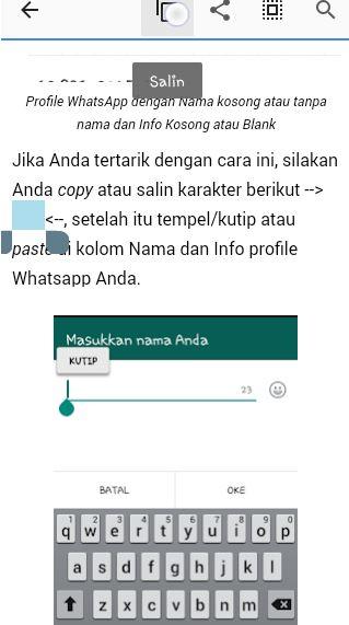 Cara Menyembunyikan Nama Pengguna WhatsApp Kosong