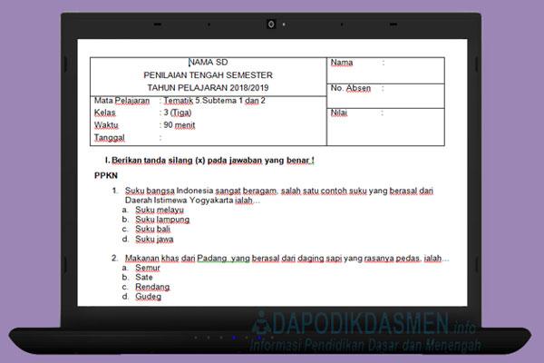 Soal UTS / PTS SD Kelas 3 Semester 2 Kurikulum 2013