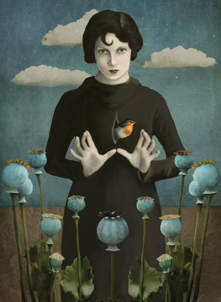 11-Poppies-Lady-Daria-Petrilli-Photograph-Collage-to-Produce-Surrealism-www-designstack-co