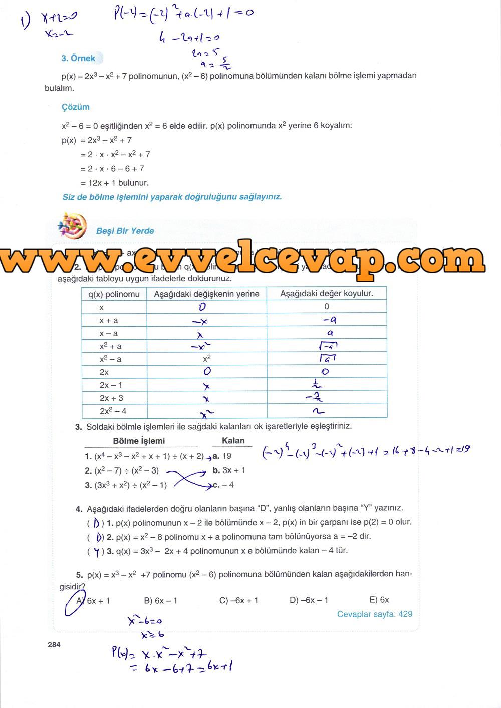 10. Sınıf Matematik Tuna Yayınları Ders Kitabı 284. Sayfa Çözümleri