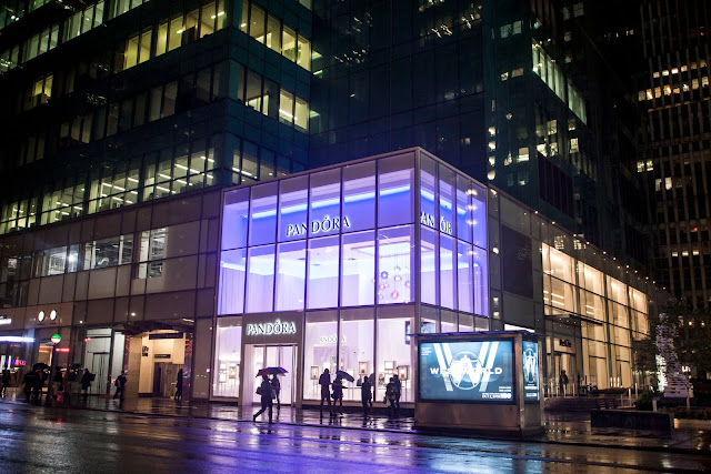 Exterior of Pandora Jewelry in Times Square, New York City.