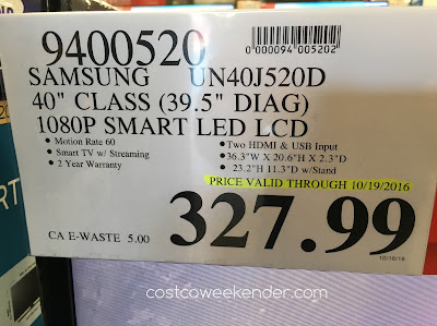 Costco 9400520 - Deal for the Samsung UN40J520D 40in tv at Costco