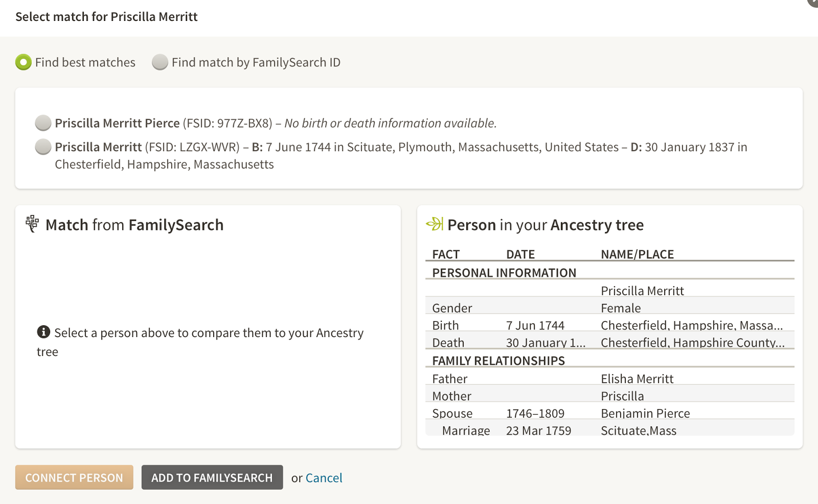 once you have connected the person a side by side comparison will appear familysearch information on the left ancestry information on the right