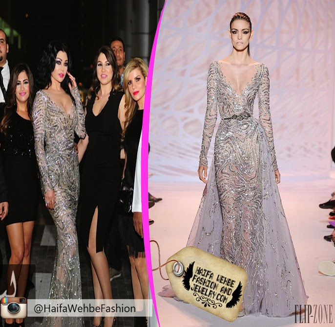 8c0f41a126370 Haifa wehbe Wearing Silver Dress by Zuhair Murad