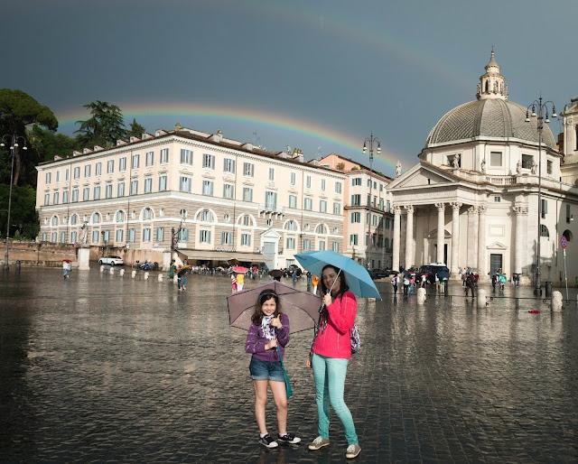 Bajo la lluvia en Roma