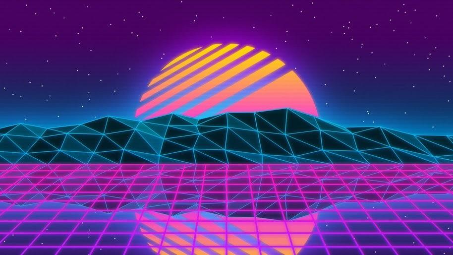 Neon, Sunset, Synthwave, Abstract, Digital Art, 4K, #90
