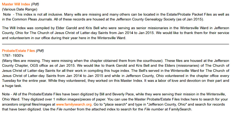 My Ancestors and Me: Jefferson County, Ohio, Court Indexes Online