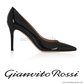 Princess Victoria wore GIANVITO ROSSI 85 patent-leather pumps