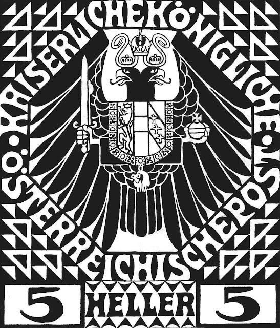 a 1908 Austrian five heller postage stamp by Kolomon Moser