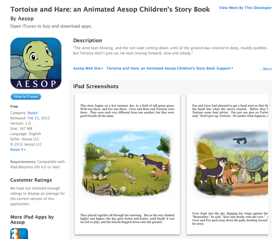 Free iOS App Today - Tortoise and Hare: an Animated Aesop Children's