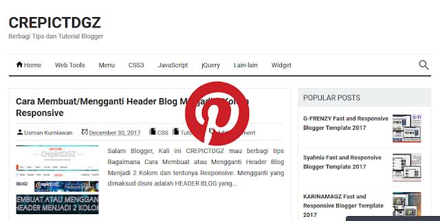 Cara Menampilkan tombol Pin It ( Pinterest ) pada Gambar Blog