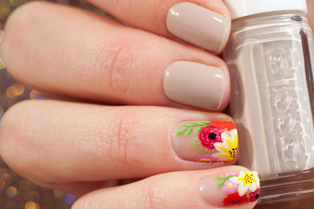 Floral Spring Nails - colourful nail art on neutral background