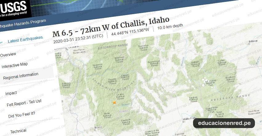 TERREMOTO EN ESTADOS UNIDOS: Sismo de Magnitud 6.5 y Alerta de Tsunami (Hoy Martes 31 Marzo 2020) Temblor - Epicentro - Idaho - Challis - Treasure Valley - EEUU - USGS