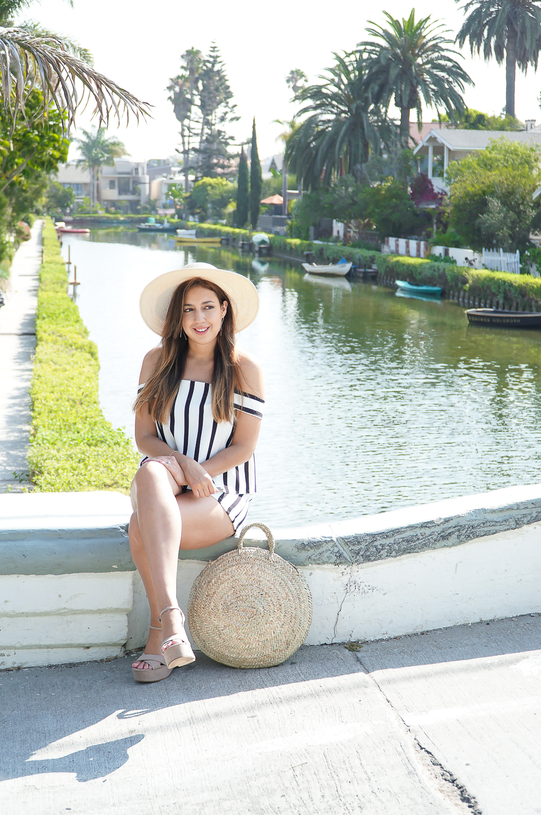 Fashion, Venice Beach Canals, Stripe off the shoulder playsuit, Topshop stripe romper, Straw hat, summer hat, Round Straw Tote Bag, Round French Baskets Bag, Zara Wedge Sandal, True Honest Fashion