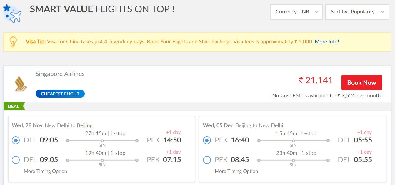 Delhi-Beijing return 21k on Singapore Airlines - The Airline ...
