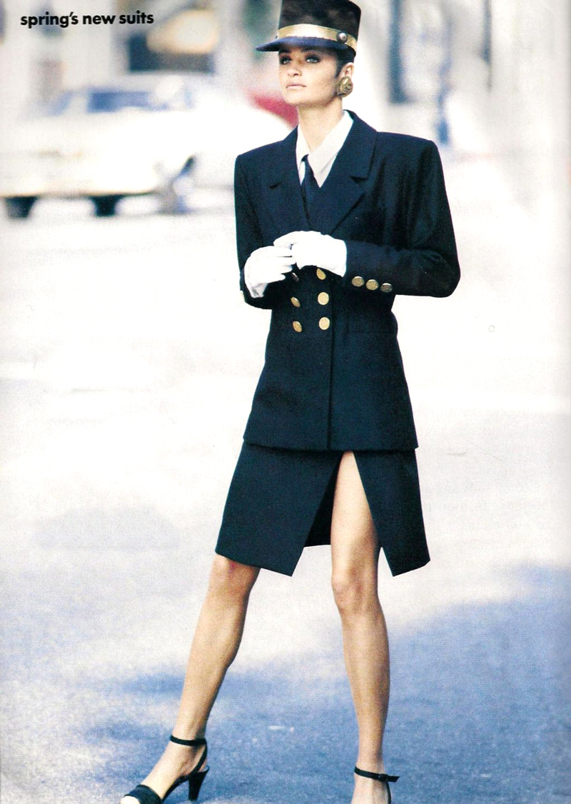 Helena Christensen wearing Yves Saint Laurent in Vogue US March 1990 (photography: Peter Lindbergh, styling: Carlyne Cerf de Dudzeele) via www.fashionedbylove.co.uk