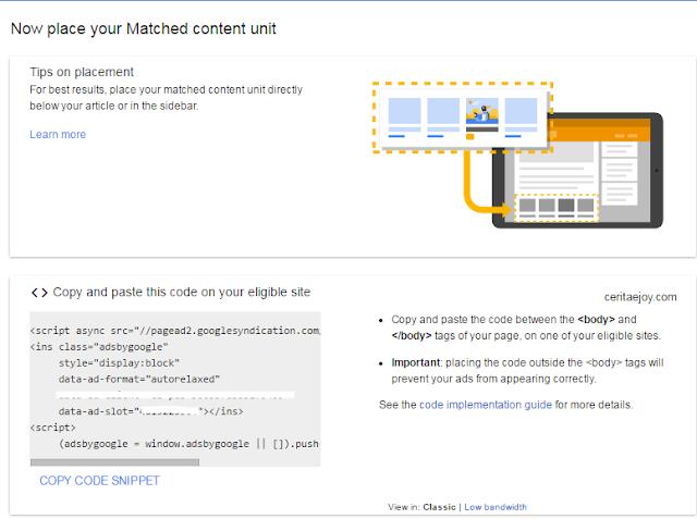 Iklan baru Adsense : Matched Content Native.