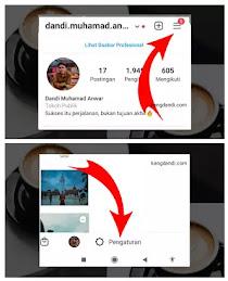 Pertama Buka profil Instagram Sobat sendiri dan ketuk ikon tiga bilah. Pilih Pengaturan.