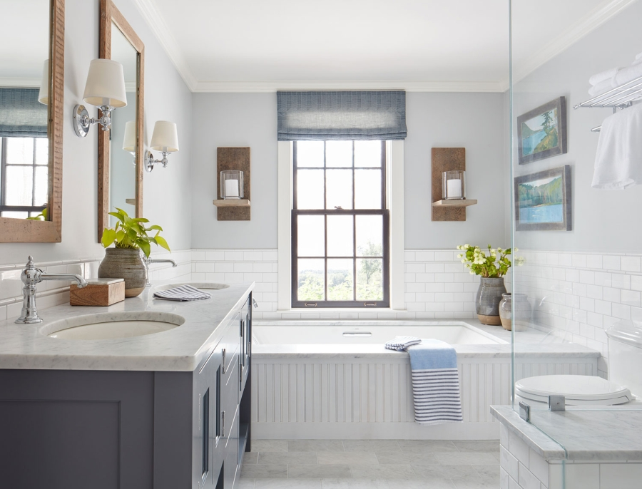 wystrój wnętrz, wnętrza, urządzanie mieszkania, dom, home decor, dekoracje, aranżacje, styl klasyczny, classic style, styl retro, łazienka, bathroom, niebieski, blue