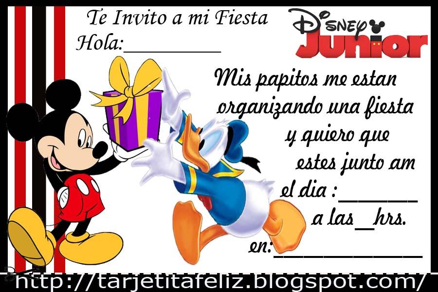 Tarjetas De Cumpleaños Para Imprimir Invitacion De Mickey Mouse