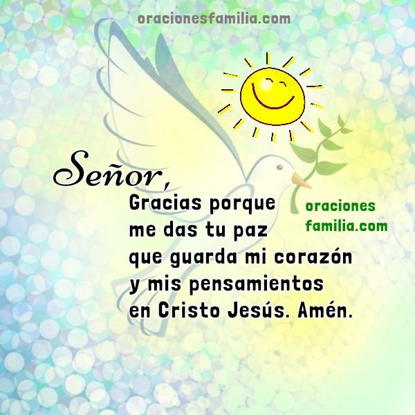 Frases cristianas de oración por la paz en nuevo dia, buen día de paz, oraciones de familia por Mery Bracho.