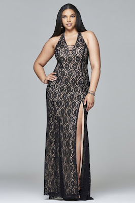 Lace Black Plus Size Evening Prom Dress
