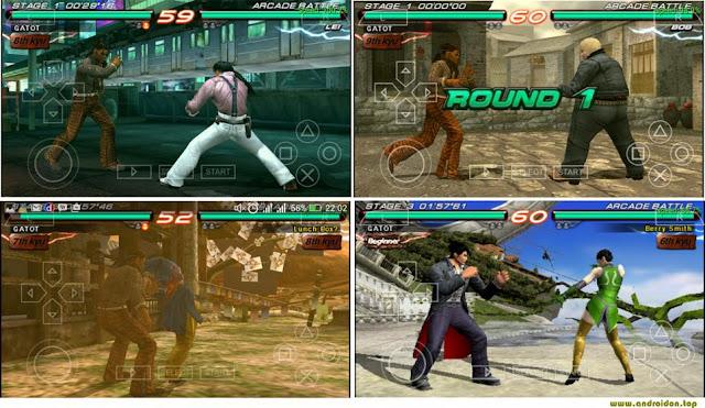 Gambar tampilan game Tekken 6 di Android dengan Emulator PPSSPP