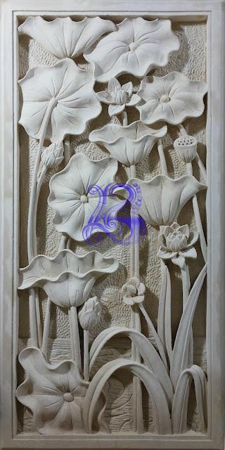 Kerajinan batu alam paras jogja motif lotus