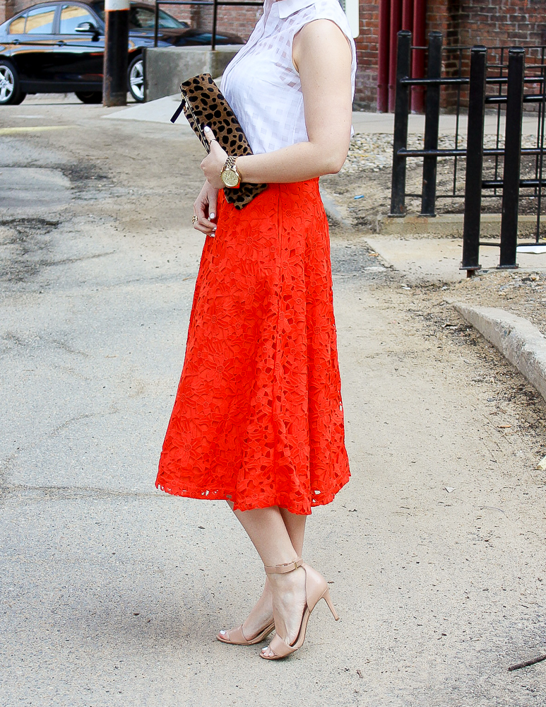 Simple, Classy, Chic: Orange Lace Midi Skirt