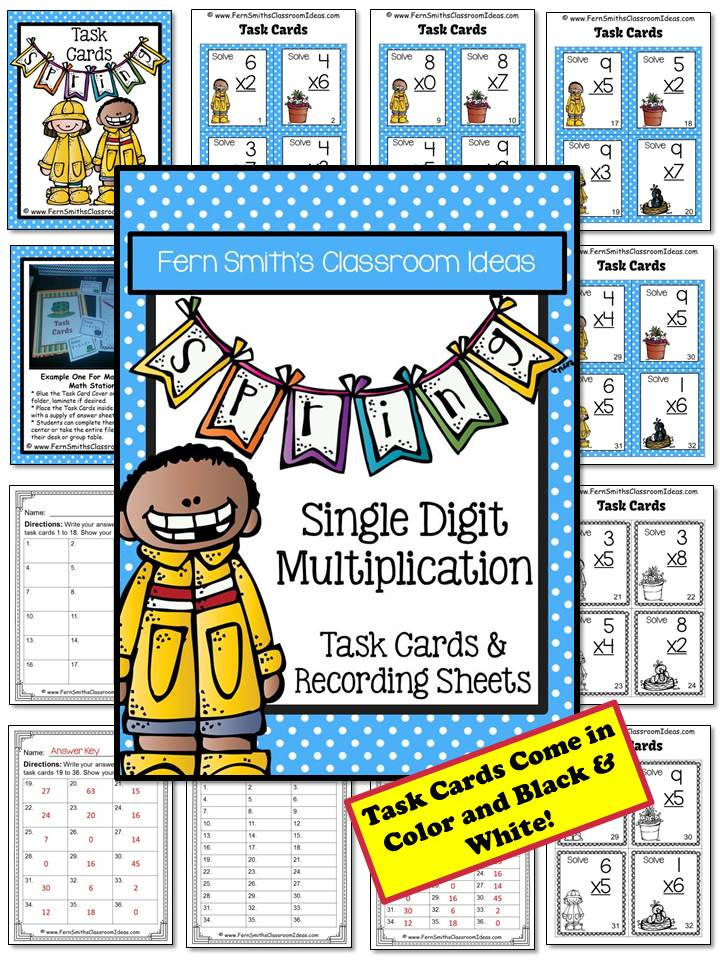 Fern Smith's Classroom Ideas  Spring Single Digit Multiplication Task Cards and Recording Sheets