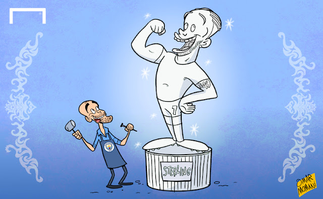 Pep reshaping his Sterling sculpture