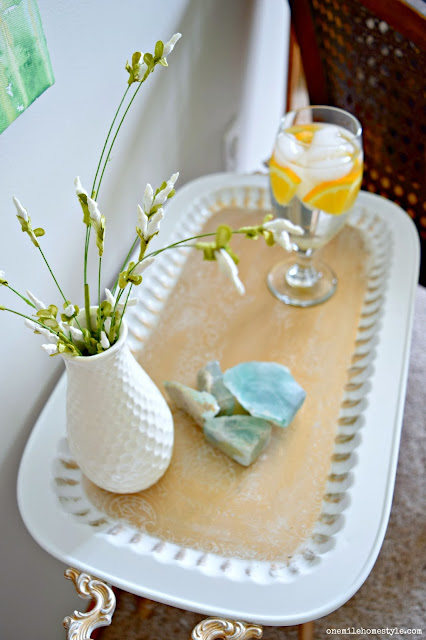 Turn a thrift store tray into an elegant white and gold accent table