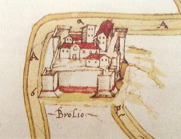 Brolio Castle depicted on the map of the Capitani di Parte Guelfa, 1595